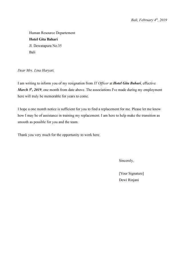surat resign hotel bahasa inggris dan artinya