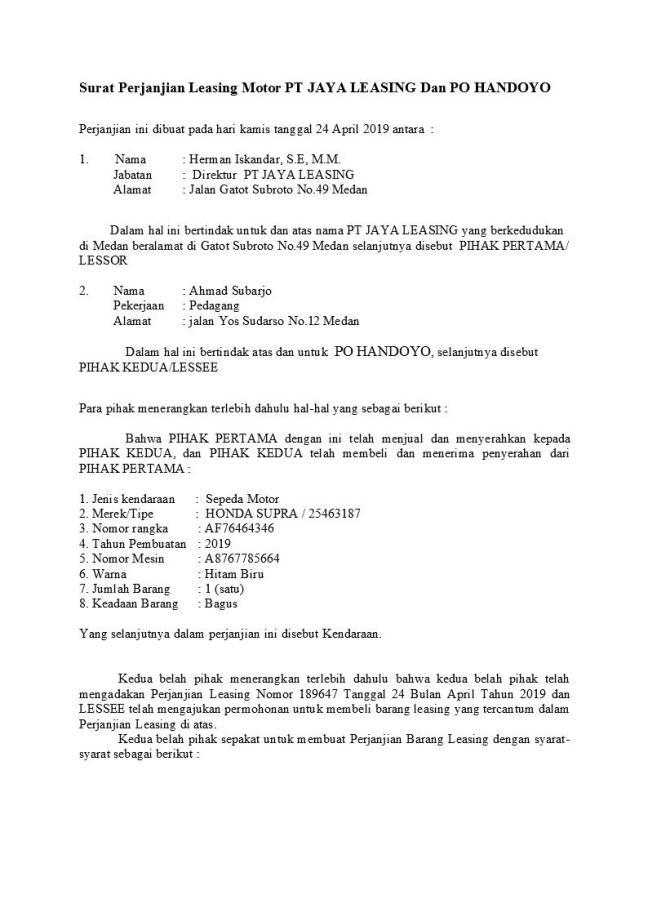 Surat Perjanjian Leasing Motor