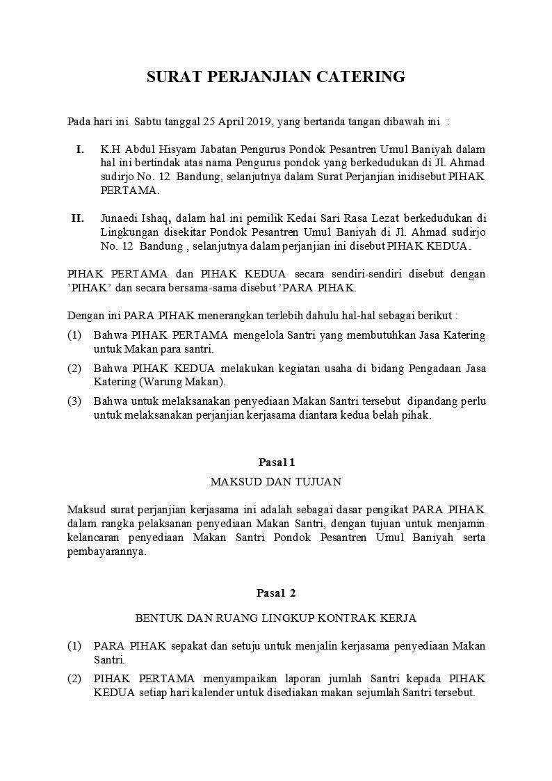 Contoh Surat Perjanjian Catering Detiklife