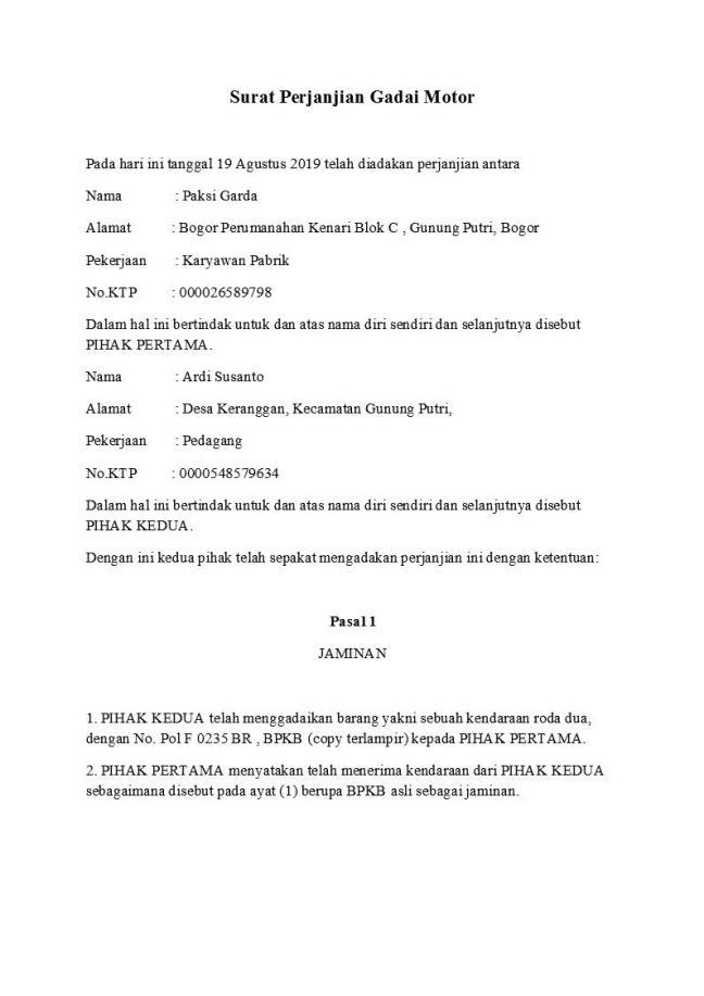 surat perjanjian gadai motor