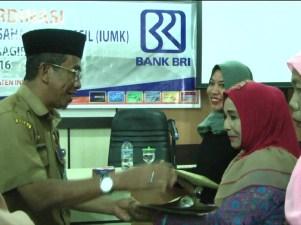 Staff Ahli Bupati menyerahkan sertifikat label halal kepada salah seorang pelaku UKM