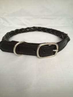 Hundehalsbånd rundflettet sort 1 Det lille læderi