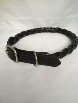 Hundehalsbånd rundflettet sort 3 Det lille Læderi