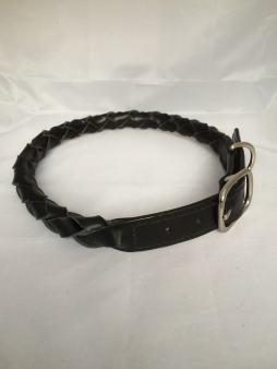Hundehalsbånd rundflettet sort 4 Det lille Læderi