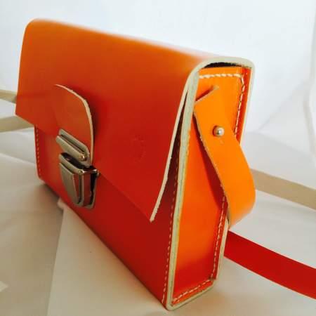 Sonja håndsyet orange kernelædertaske fra Det Lille Læderi 9