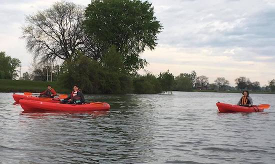 kayaking on the detroit river