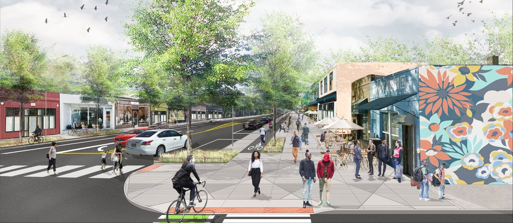 Rendering of planned streetscape on Livernois Avenue in Detroit, after construction to improve walkability is completed.