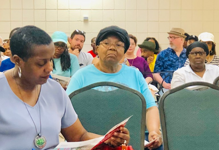 Detroit resident Geraldine Hasan is pictured at a neighborhood meeting where she shared concerns about the cannabis industry and what she sees as lax regulations.