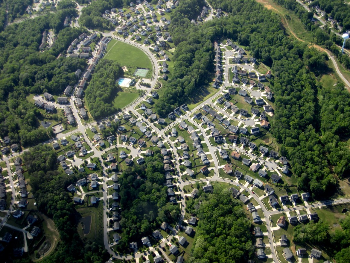 Aerial photo showing winding suburban streets