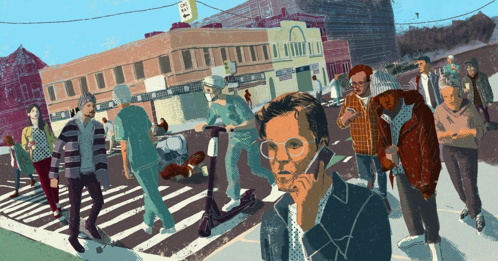 Revitalization in the booming Detroit neighborhood of Midtown has also fueled rising rents and displacement. Illustration of people walking and using scooters on Detroit street by Steven Shik.