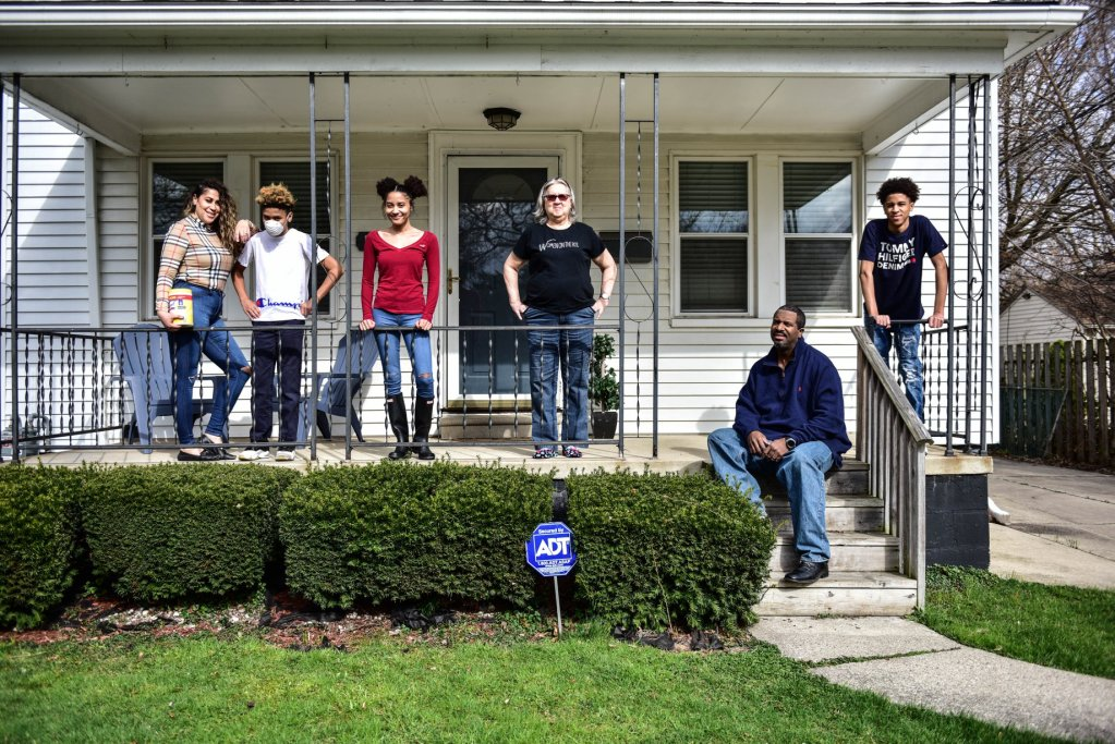 Benjamin family participating in the front porch project