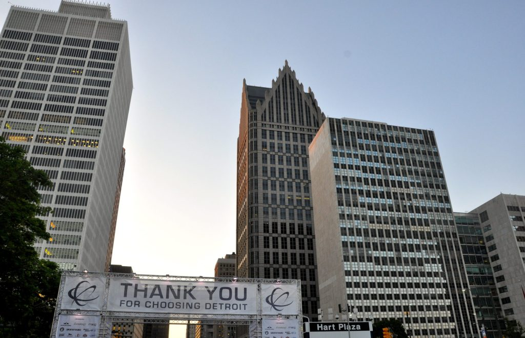 hart plaza detroit sign at movement festival 2014