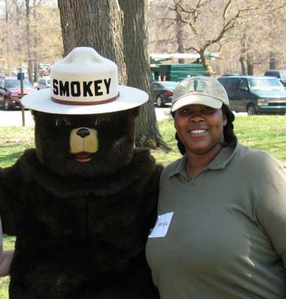 Tamika Jaja with Smokey the Bear