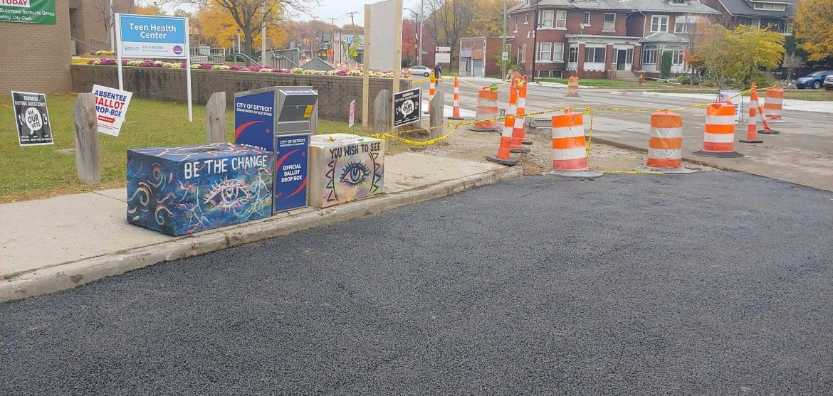 ballot drop box in detroit with road construction that restricts access