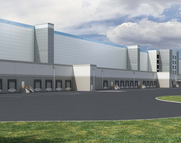 Amazon warehouse rendering state fairgrounds redevelopment proposal