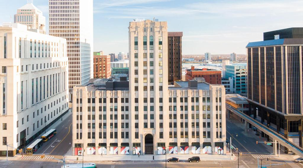 photo of detroit free press building exterior, reopened after a rehab by bedrock