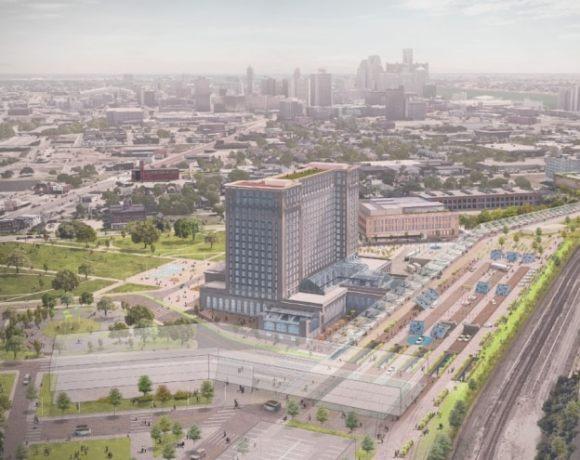 michigan central station development plan rendering aerial
