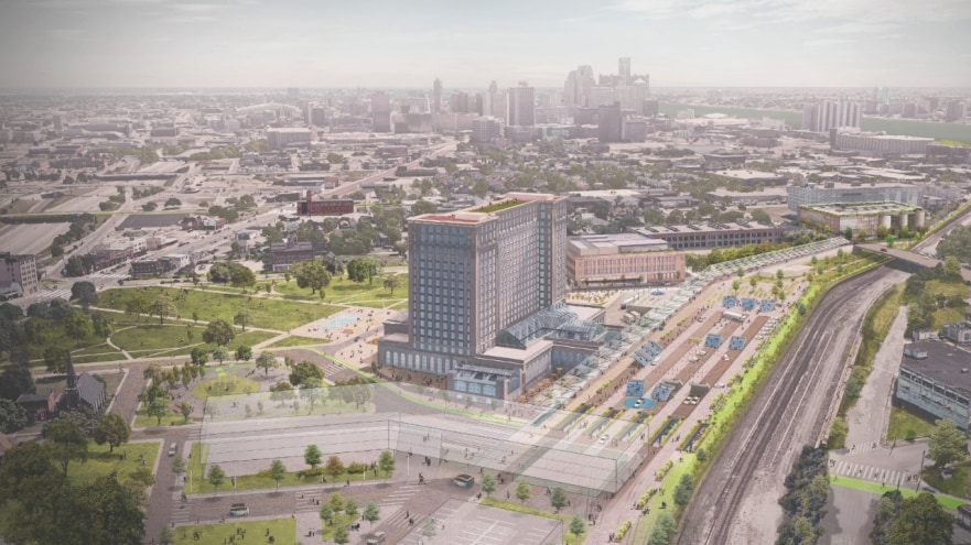 michigan central station development plan rendering aerial