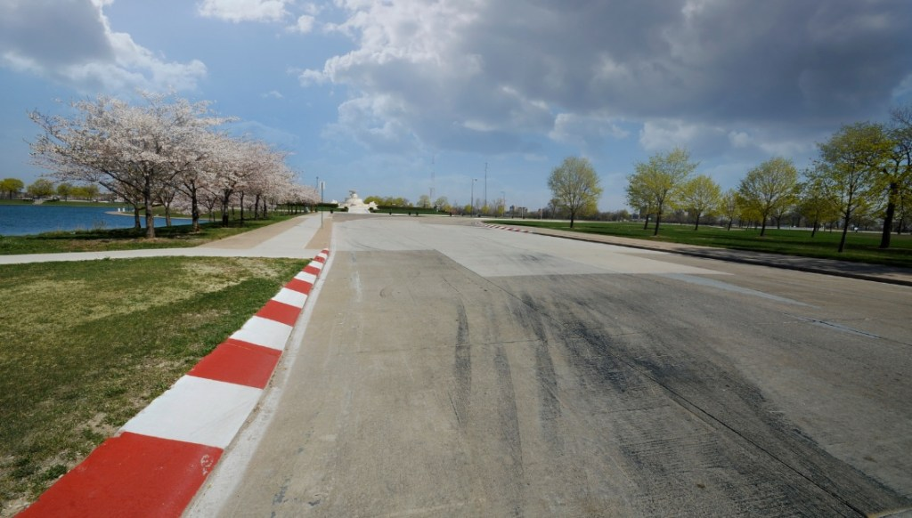 Race track for Detroit Grand Prix shown on Belle Isle island park