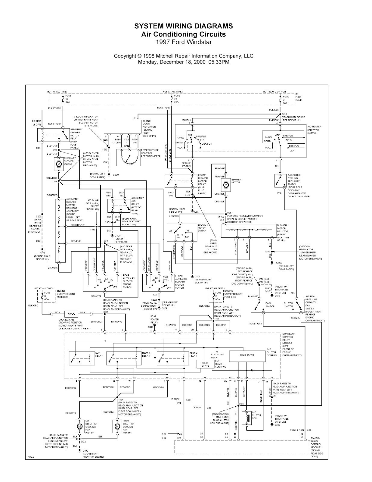 2002 Ford Windstar Radio Wiring Diagram