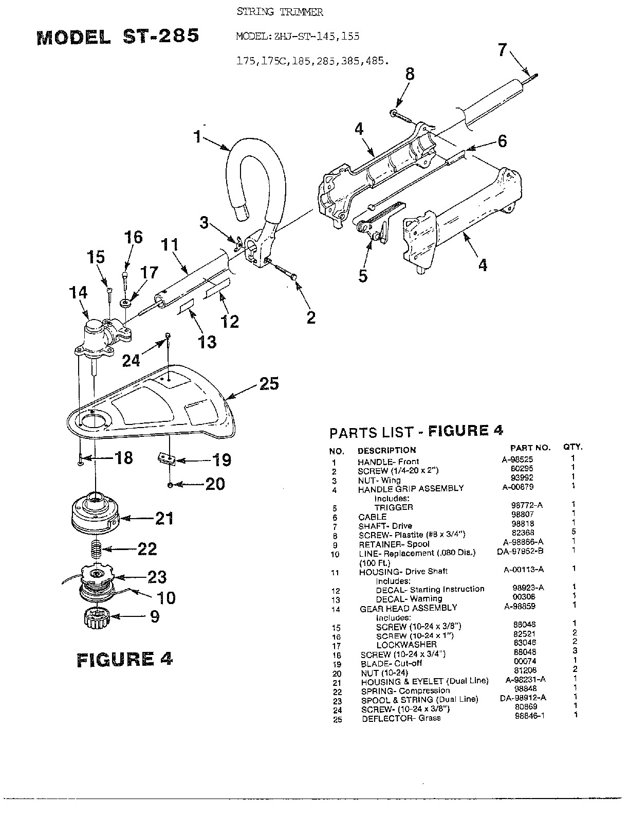 Homelite Trimmer Parts Diagram