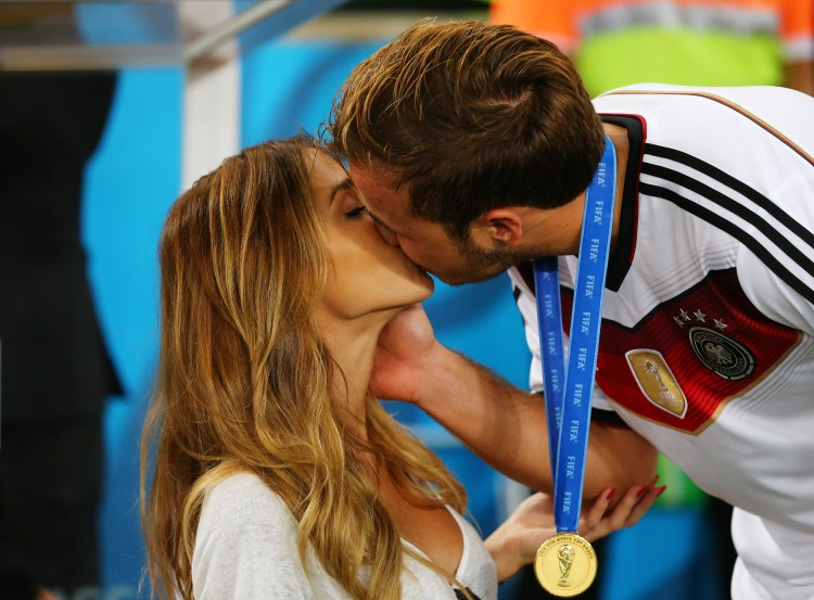 Mario Goetze with girlfriend Ann-Kathrin Brommel (Photo by Martin Rose/Getty Images)