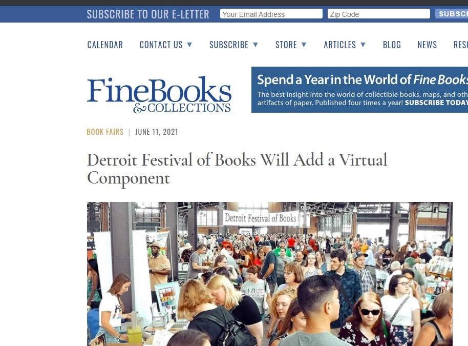 Thank you Fine Books Magazine for the coverage of Virtual Detroit Bookfest