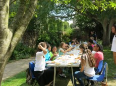 Dinner in the garden at Chichester Cathedral