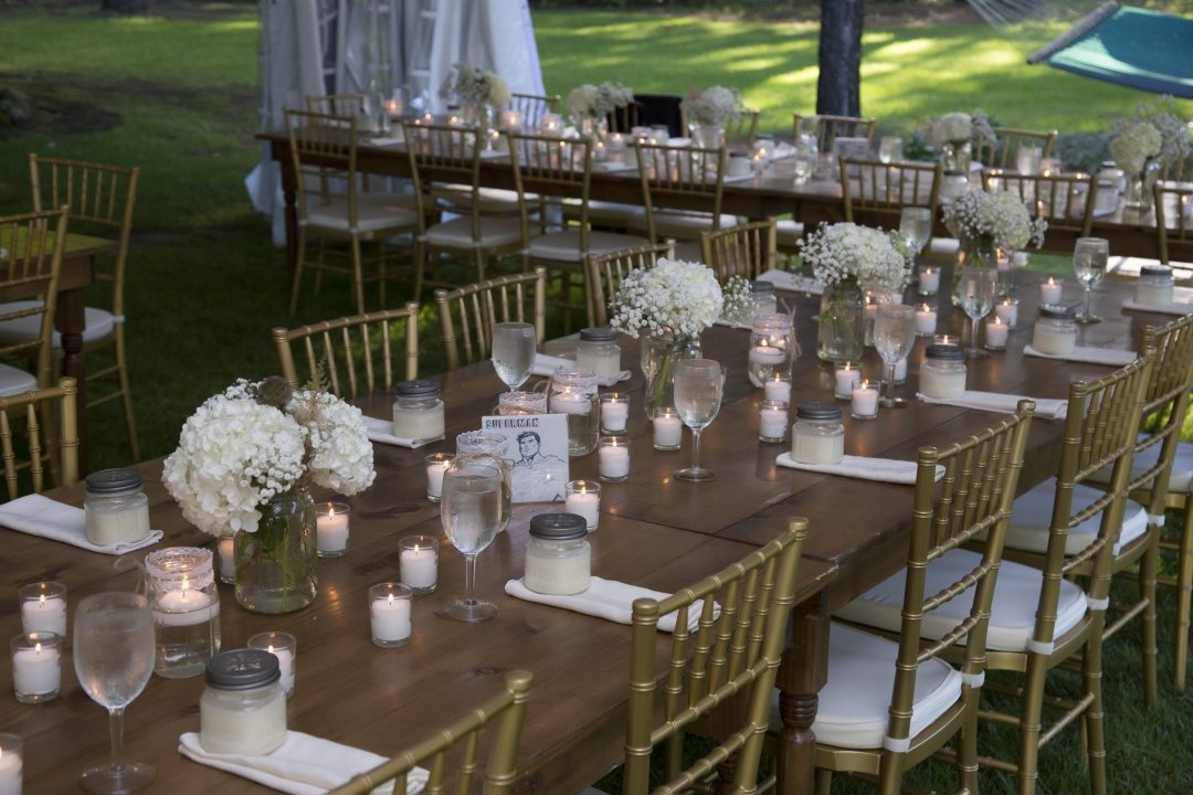 Detroit Chiavari Chairs and Farm Tables. Photo by Mark Adrian Photography