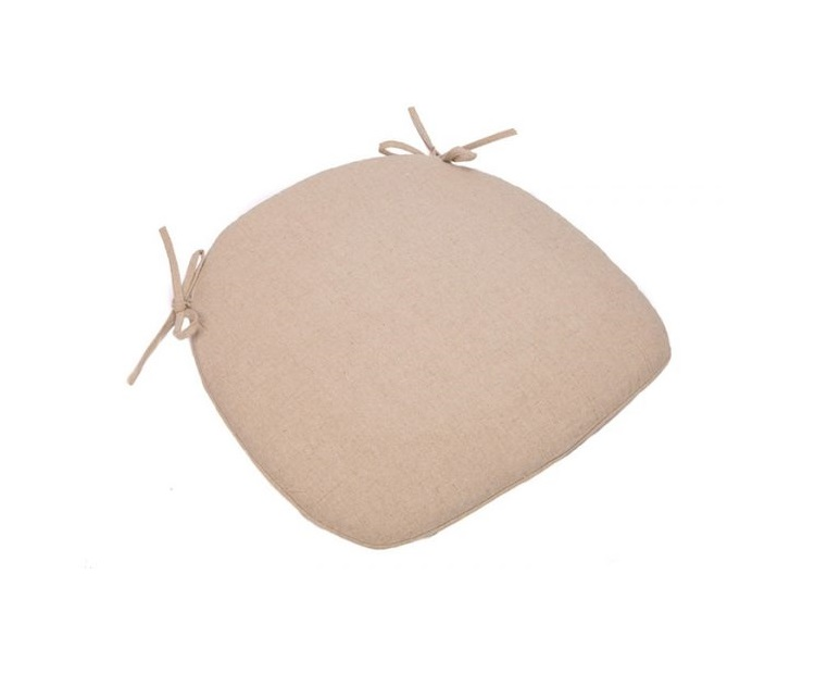 wide Tan Burlap Cushion with Tie Straps Detroit Chiavari