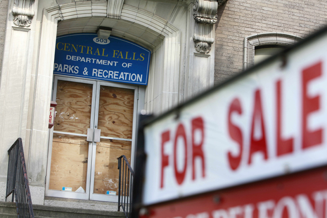 Central Falls, R.I., put its Department of Parks and Recreation building up for sale after declaring bankruptcy in August 2011. (Photo: AP/Michael Dwyer)