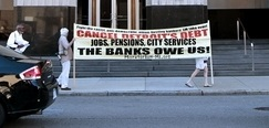 Cancel Detroit's Debt banner outside US Bankruptcy Court-July 24, 2013
