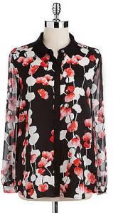DKNYC Floral Print Blouse