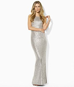 Ralph Lauren Sequin Mesh Gown