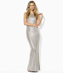 Ralph Lauren Sequin Mesh Gown