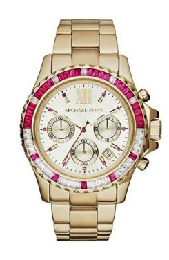 Michael Kors 'Everest' Baguette Crystal Bezel Bracelet Watch