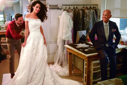 Amal Alamuddin during fitting for her Oscar de la Renta wedding dress Photo: Annie Leibovitz for Vogue