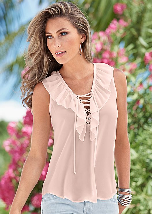 Venus Ruffle Lace Up Top