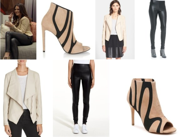 ce97d5c836da To recreate her look you can snag this BB Dakota Laverne Faux Leather Jacket  ($98), Aritzia Daria Pant ($135) and these insane look alike Charles David  ...