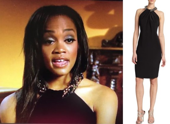 4abc86b915f3 She wore a black halter dress that had a cool beaded neckline. I found this  similar Carmen Marc Valvo Embellished Neck Halter Dress ( 357)