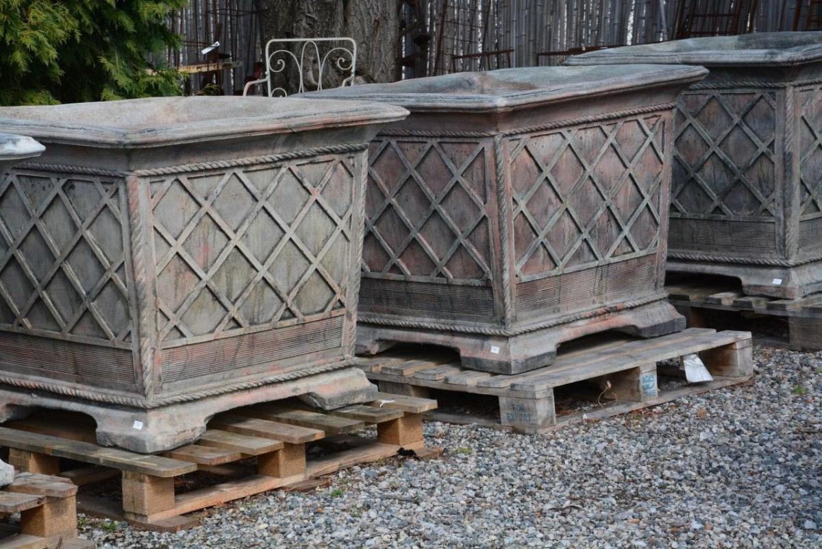 english concrete square planters in the italian style – detroit  - english concrete square planters in the italian style – detroit garden works
