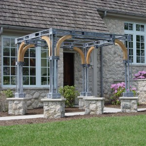 custom steel and oak pergola from the Branch Studio
