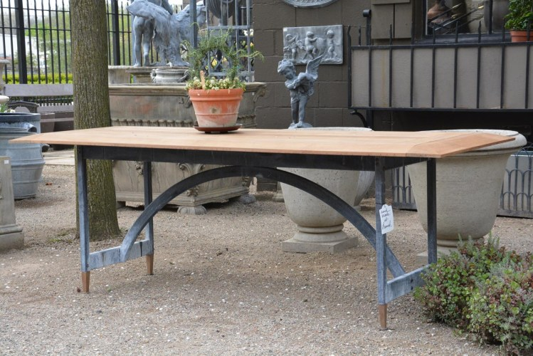ipe and steel garden table made by Branch