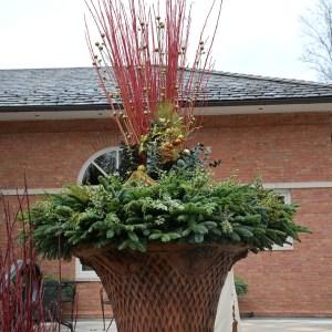 Winter Basket Weave Planter