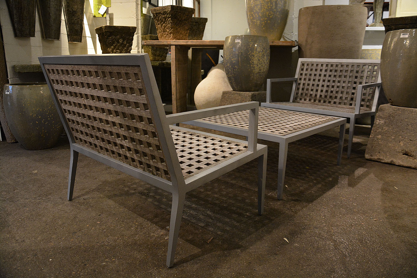 Three Piece McGuire Archetype Aluminum And Teak Patio Set