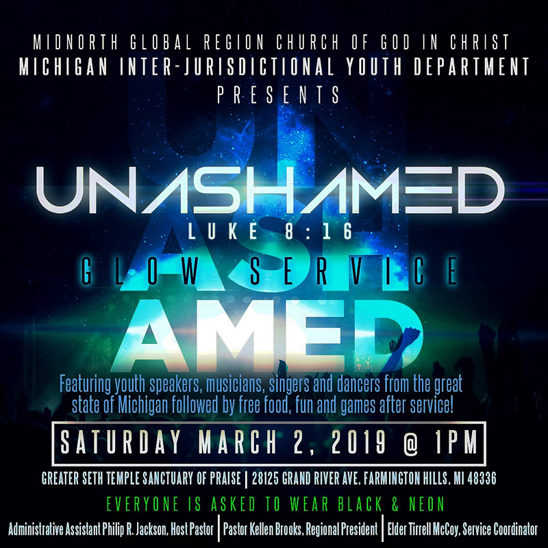 "Glow Service ~ ""UNASHAMED"" Statewide Youth Conference"