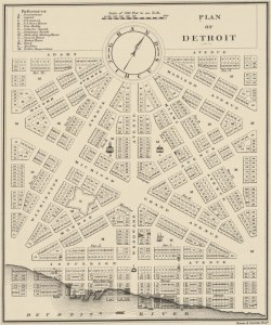 Woodward's great Detroit plan, courtesy University of Michigan
