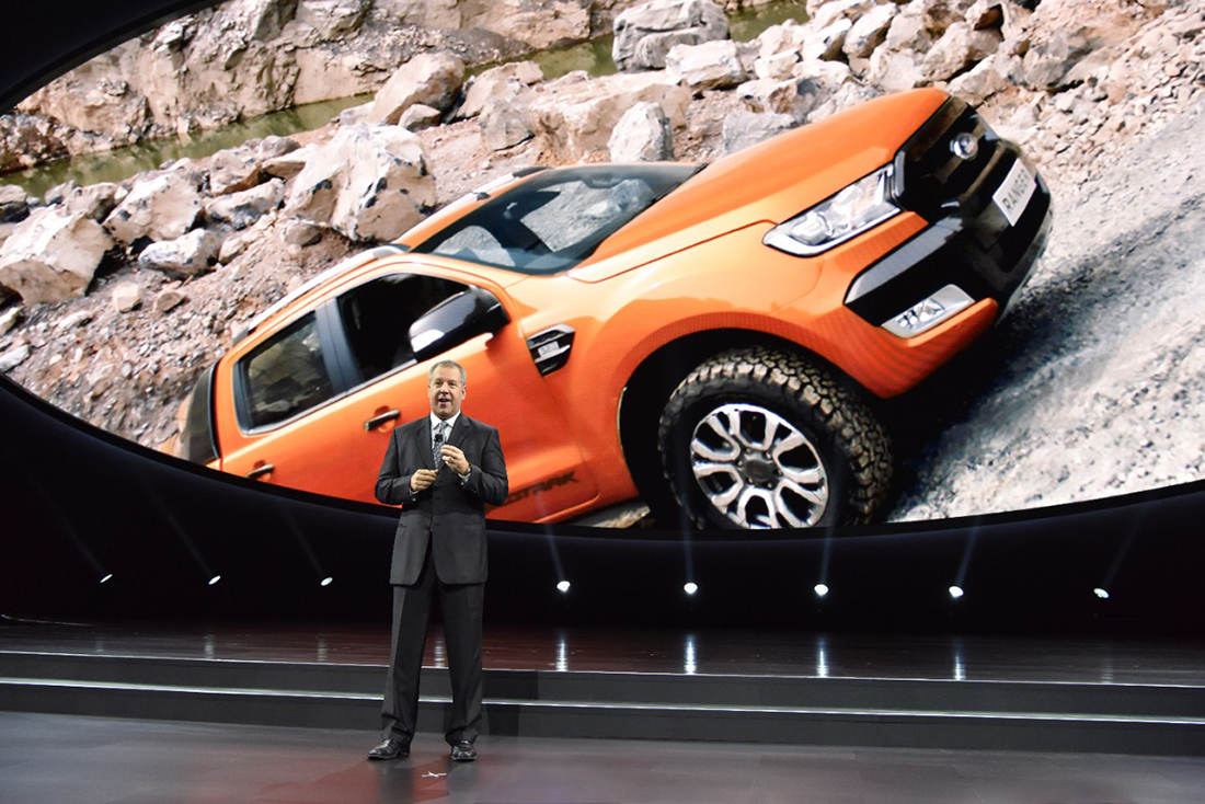 Joe Hinrichs, Ford's president of the Americas, announces during media days at the 2017 North American International Auto Show that the Ford Ranger midsize pickup truck will be reintroduced to the North American market in 2019