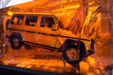 The big talking point, was Mercedes Benz' 1979 280 GE encased in a massive synthetic resin block.