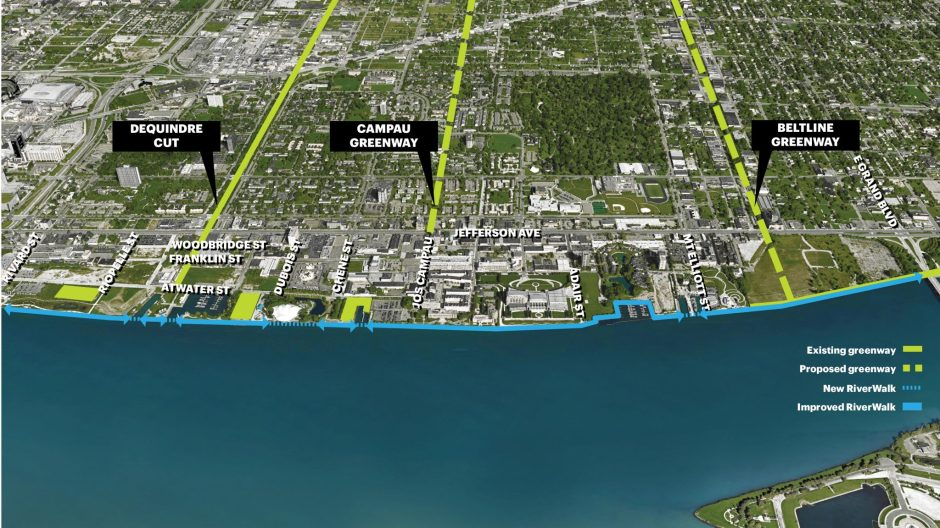 Expand Greenway Connectivity to River. Courtesy Detroit Riverfront Conservancy
